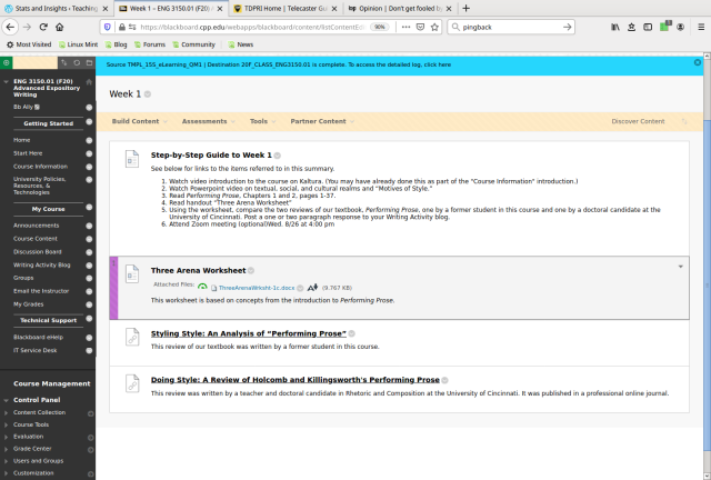 Blackboard Screenshot of Advanced Expository Writing, Module 1, Week 1